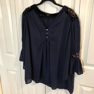 Navy Chiffon Blouse w/ Velvet Embroidered Patches